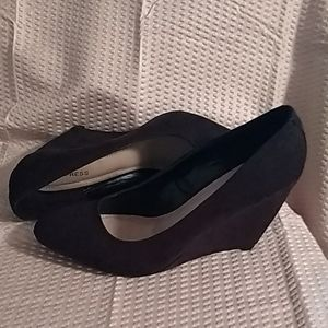 EXPRESS Black suede look wedge heels